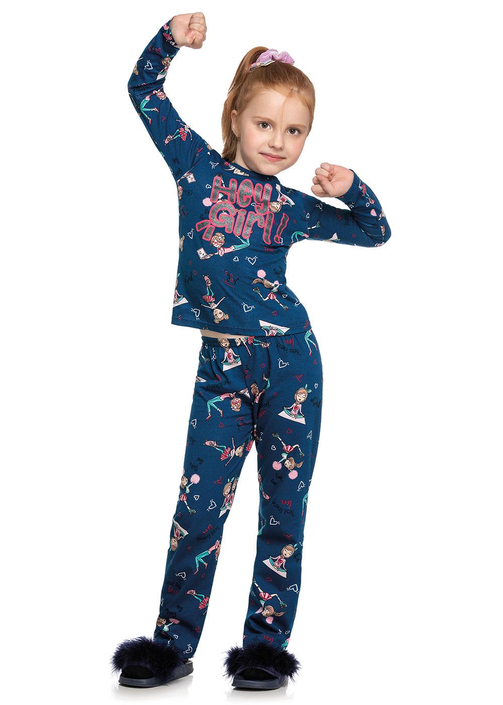 Pijama Infantil Feminino Inverno Azul Hey Girl - Elian