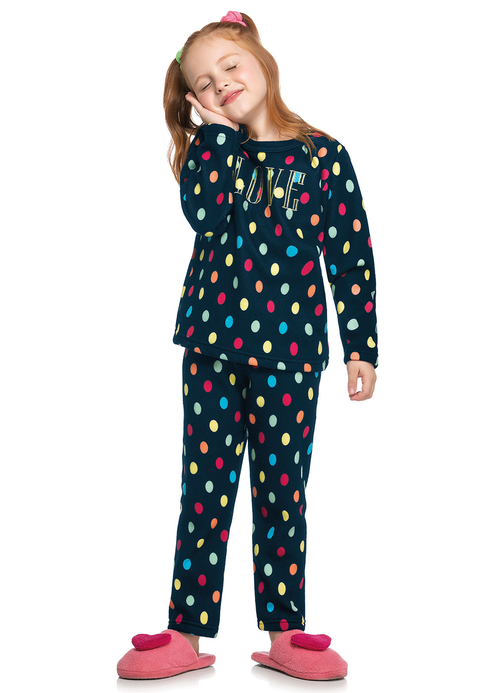 Pijama Infantil Feminino Inverno Azul Love - Elian