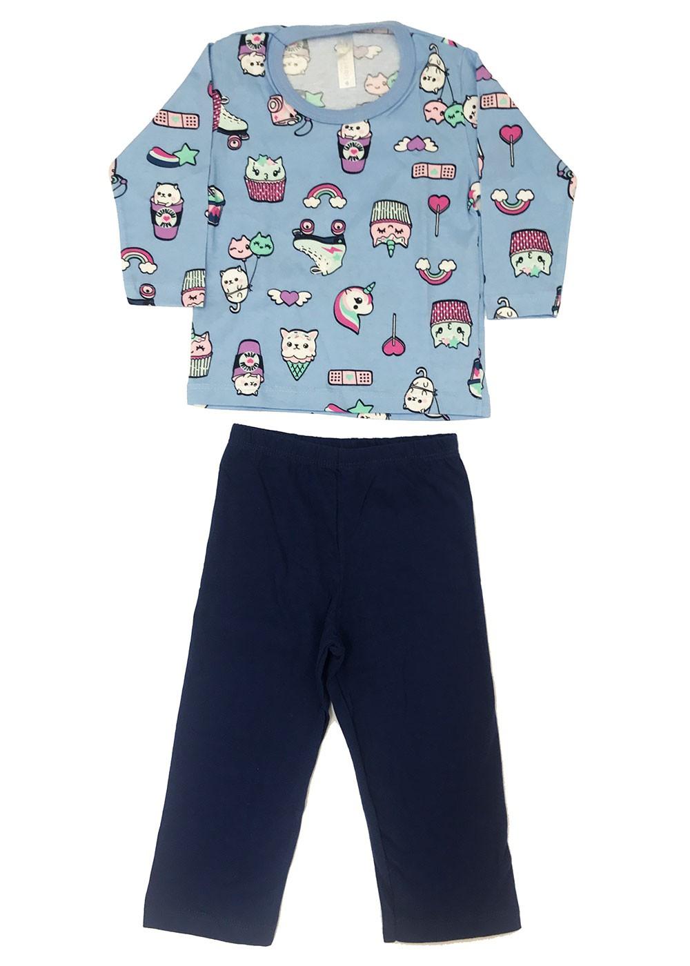 Pijama Infantil Feminino Inverno Azul Unicórnio Malwee