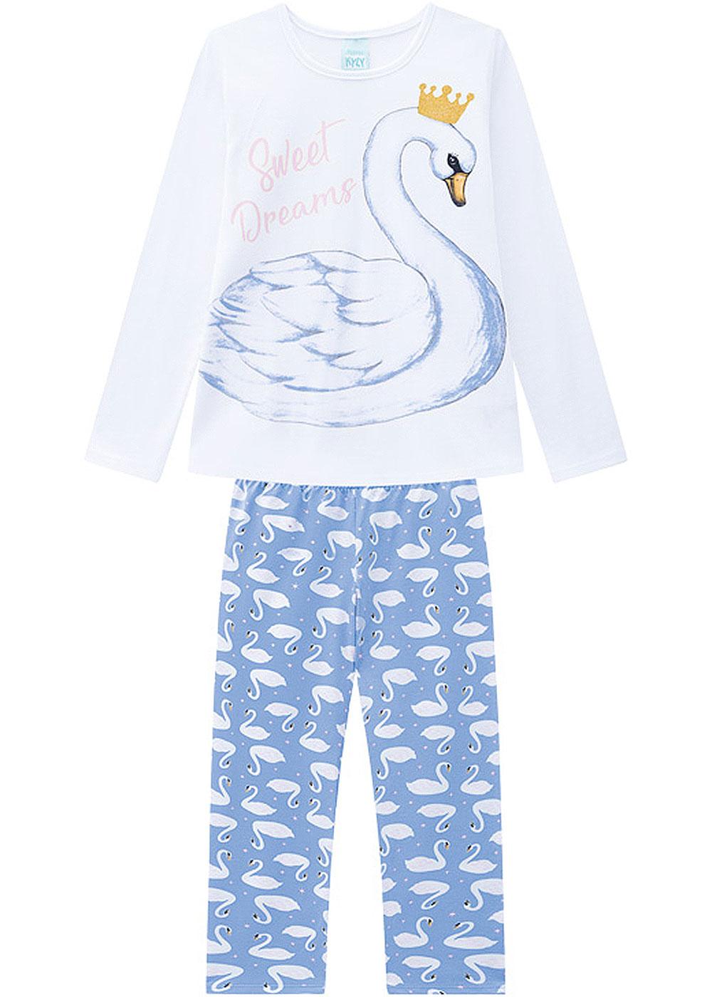 Pijama Infantil Feminino Inverno Branco Cisne Kyly