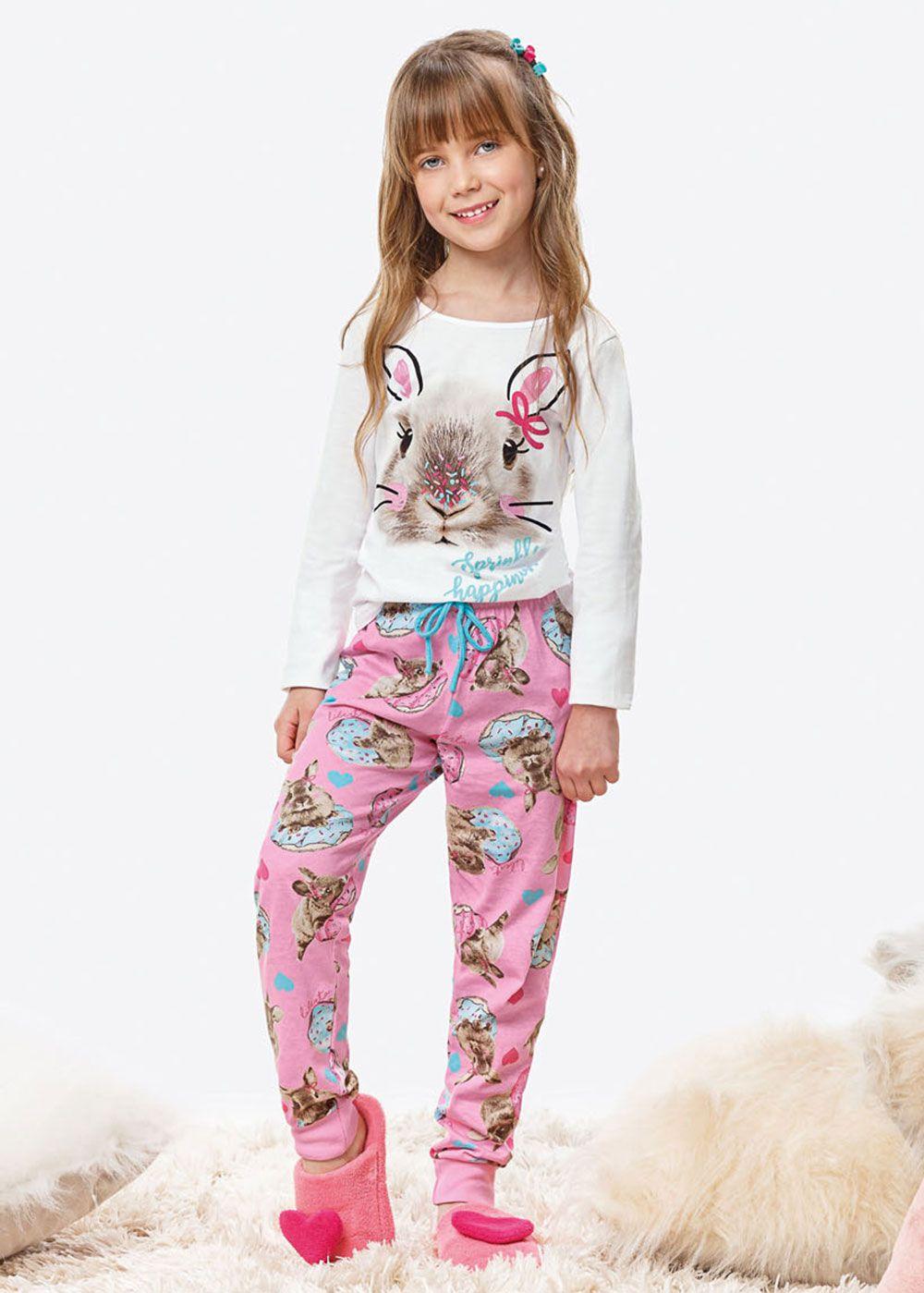 Pijama Infantil Feminino Inverno Branco Coelho Malwee