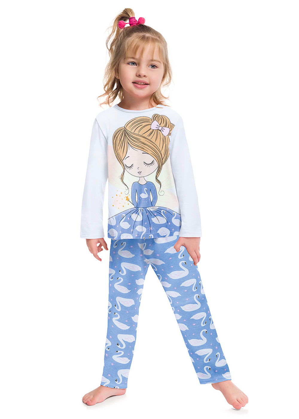 Pijama Infantil Feminino Inverno Branco Fada Brilha no Escuro - Kyly