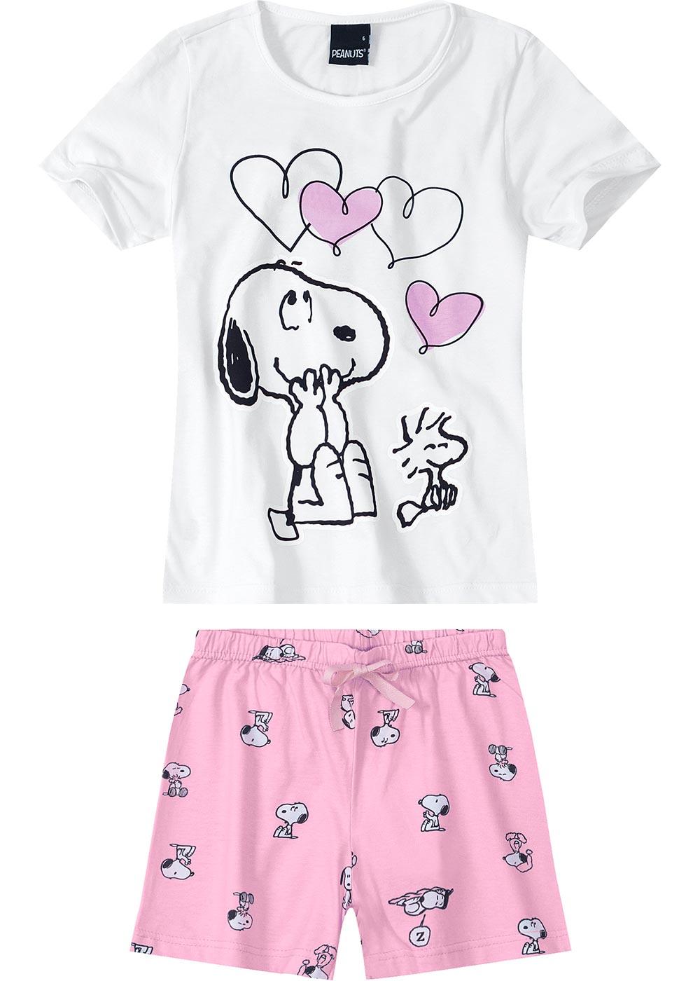 Pijama Infantil Feminino Verão Branco Snoopy - Malwee