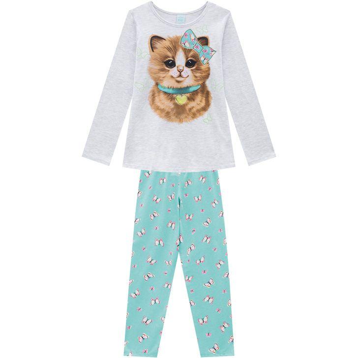 Pijama Infantil Feminino  Inverno Cinza Cat Kyly
