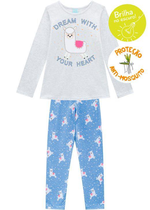 Pijama Infantil Feminino  Inverno Cinza Dream Kyly