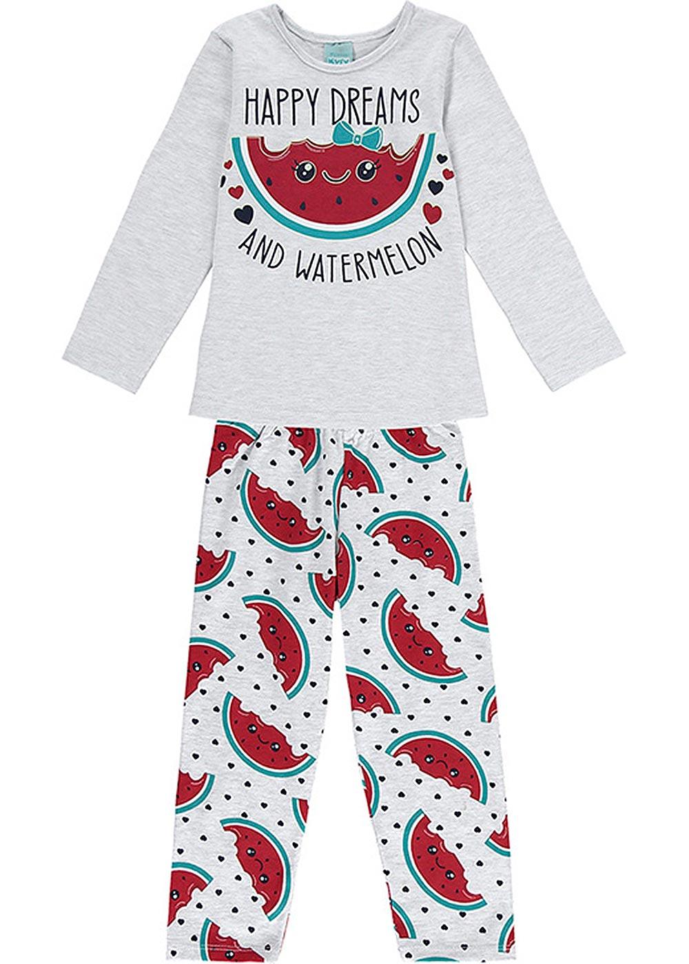 Pijama Infantil Feminino Inverno Cinza Happy Dreams - Kyly