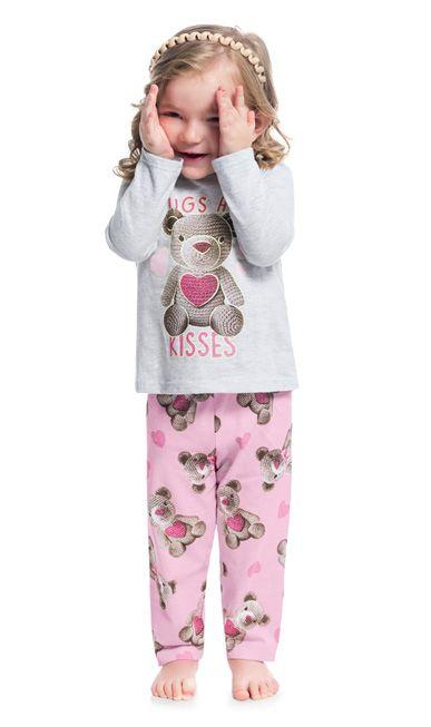 Pijama Infantil Feminino Inverno Cinza Hugs Brilha no Escuro - Kyly