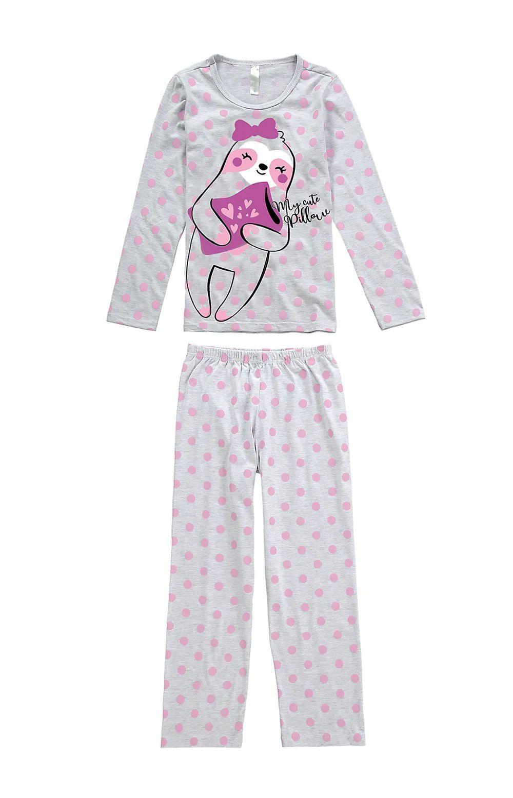 Pijama Infantil Feminino Inverno Cinza Laziness Malwee