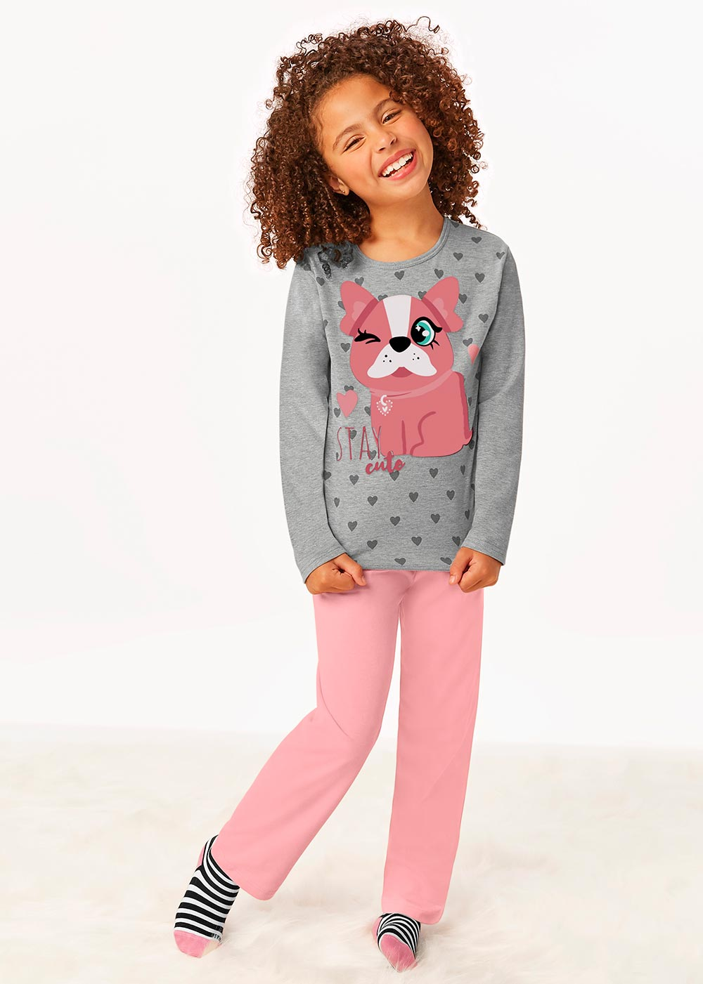 Pijama Infantil Feminino Inverno Cinza Stay Cute - Malwee