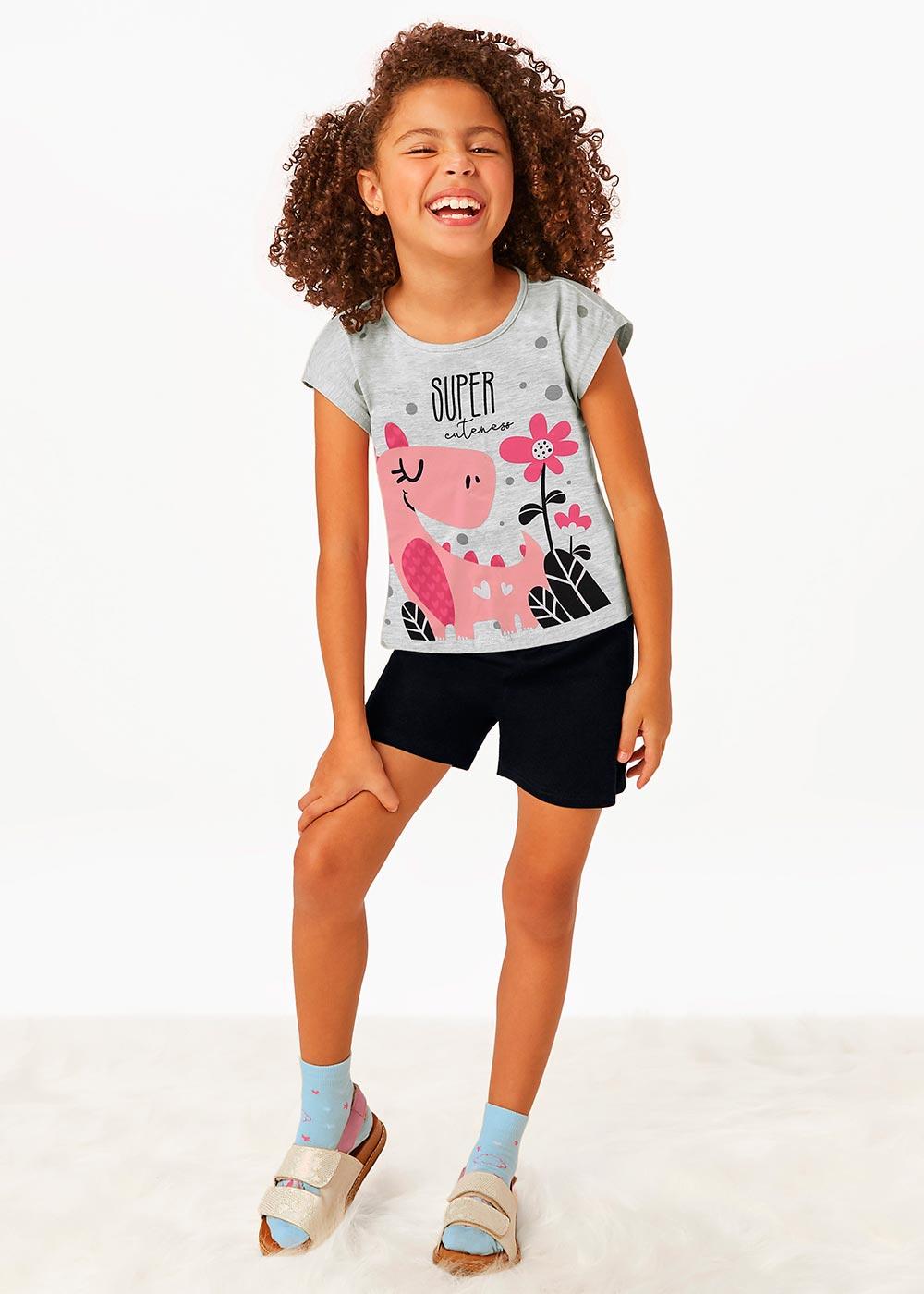 Pijama Infantil Feminino Verão Cinza Super - Malwee
