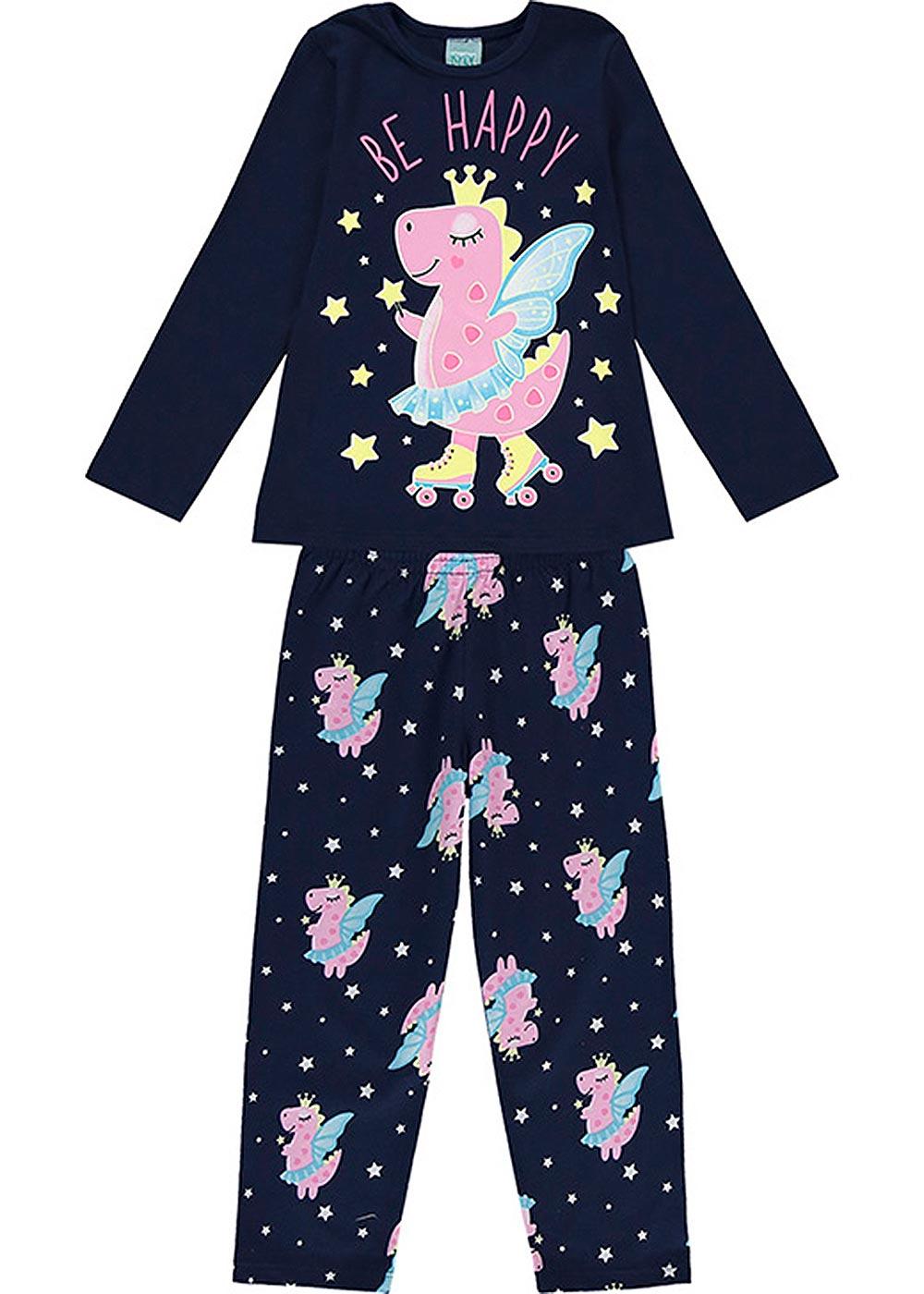 Pijama Infantil Feminino Inverno Marinho Be Happy - Kyly