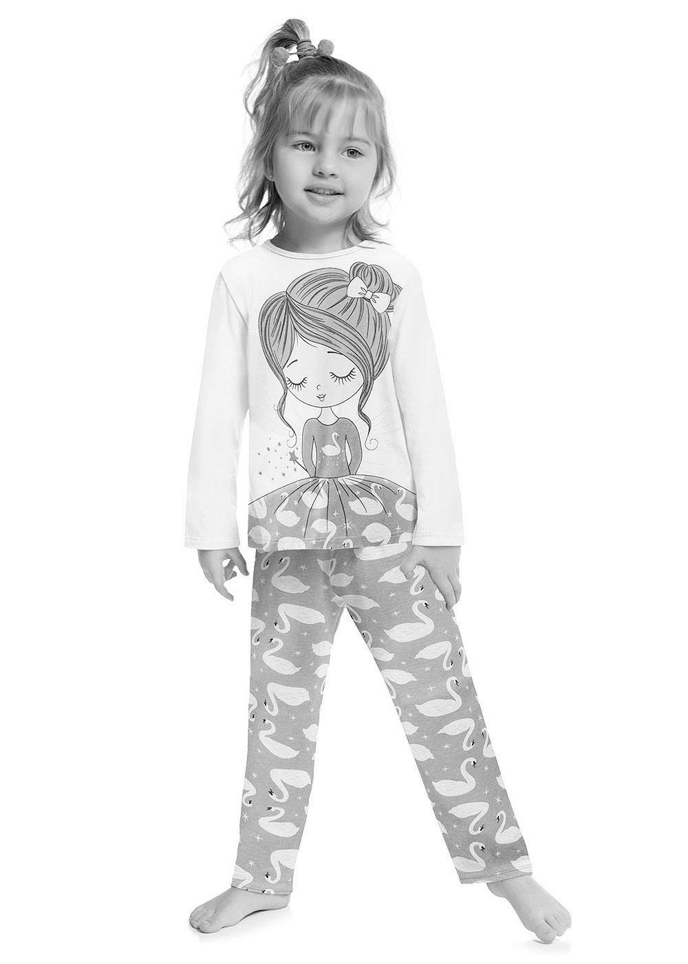 Pijama Infantil Feminino Inverno Mescla Fada Kyly