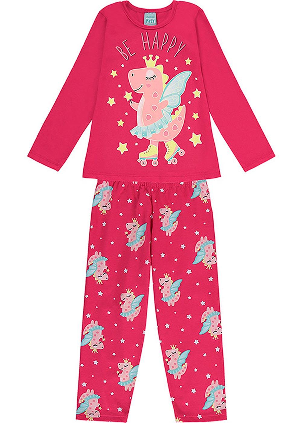 Pijama Infantil Feminino Inverno Rosa Be Happy - Kyly