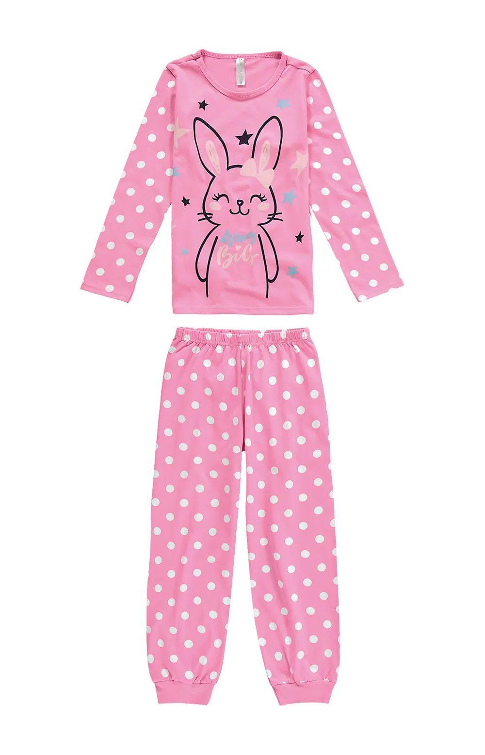 Pijama Malwee Infantil Inverno Rosa Bunny