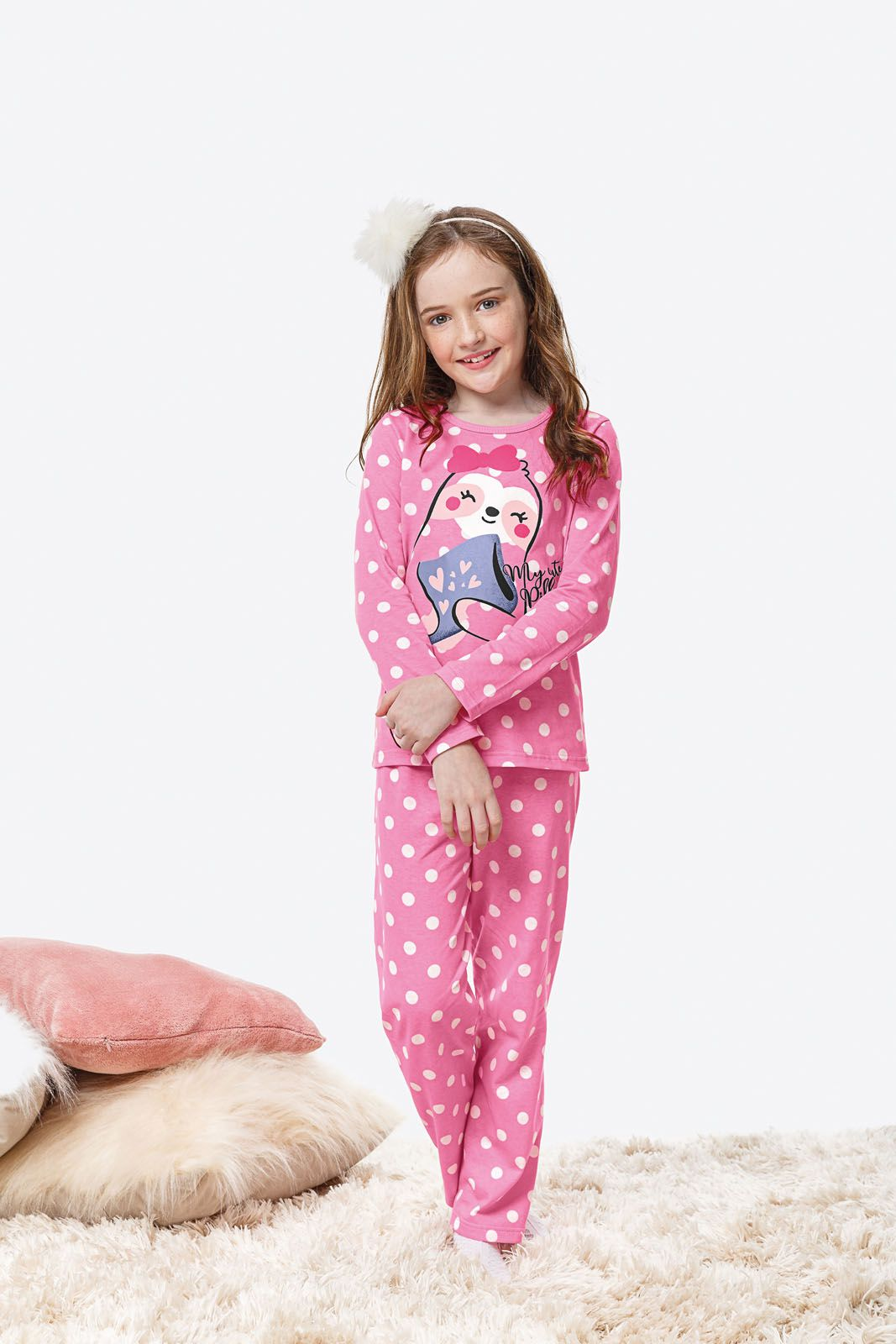 Pijama Infantil Feminino Inverno Rosa Laziness Malwee