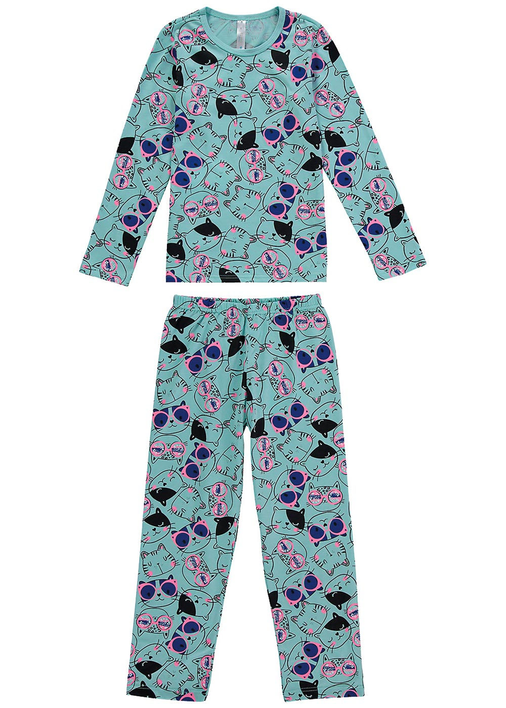 Pijama Infantil Feminino Inverno Verde Fashion Cats - Malwee