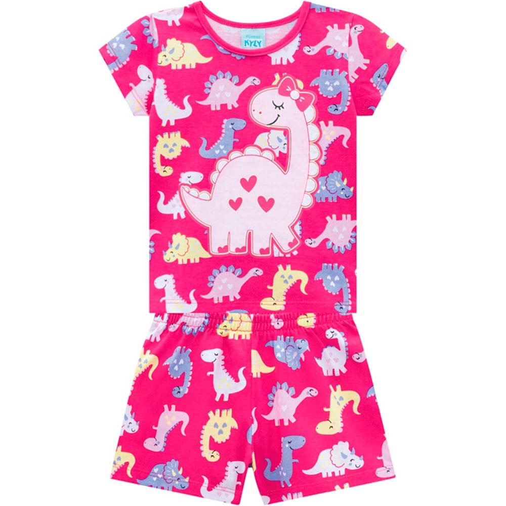 Pijama Infantil Feminino Verão Rosa Dino Kyly