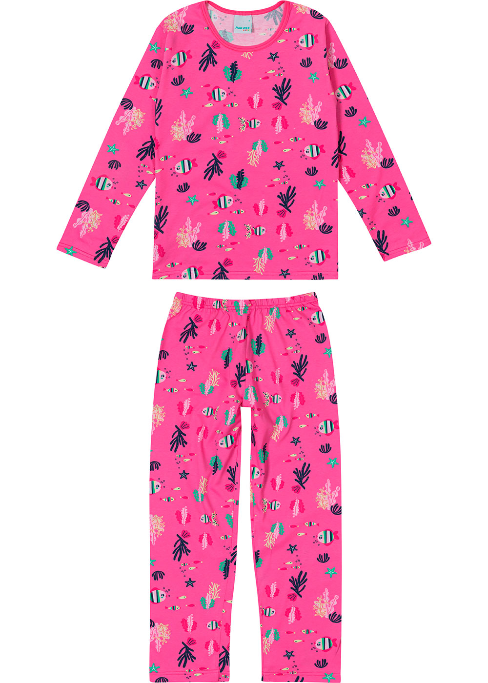 Pijama Infantil Feminino Longo Rosa Fundo do Mar - Malwee