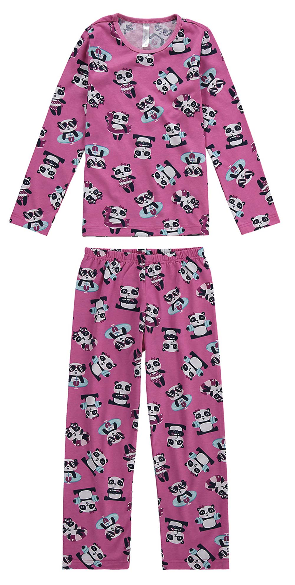 Pijama Infantil Feminino  Inverno Rosa Panda Summer  Malwee