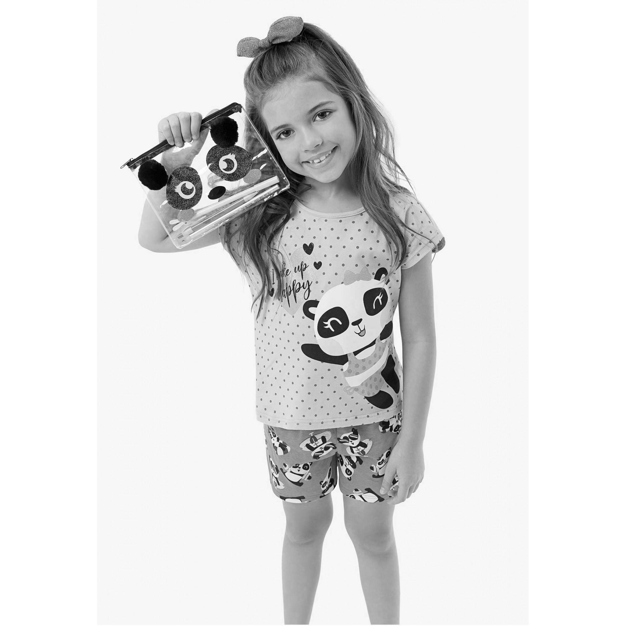 Pijama Infantil Feminino Verão Rosa Happy Panda Malwee