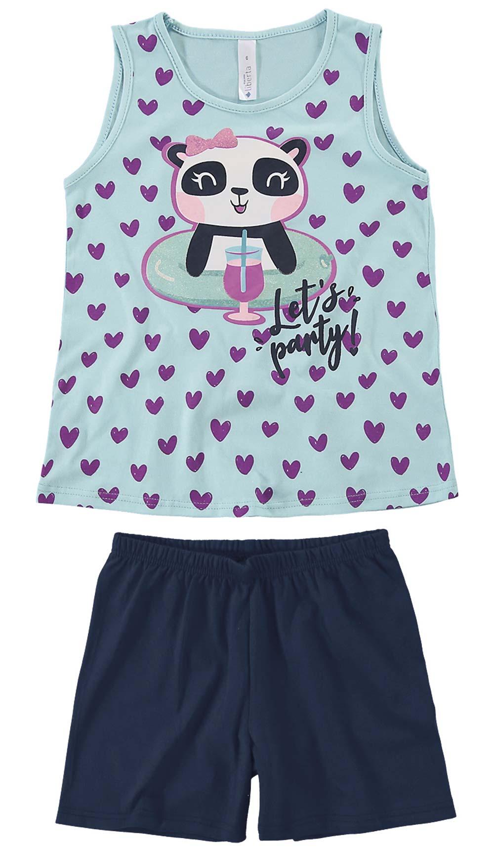 Pijama Infantil Feminino Verão Azul Let's Panda Malwee