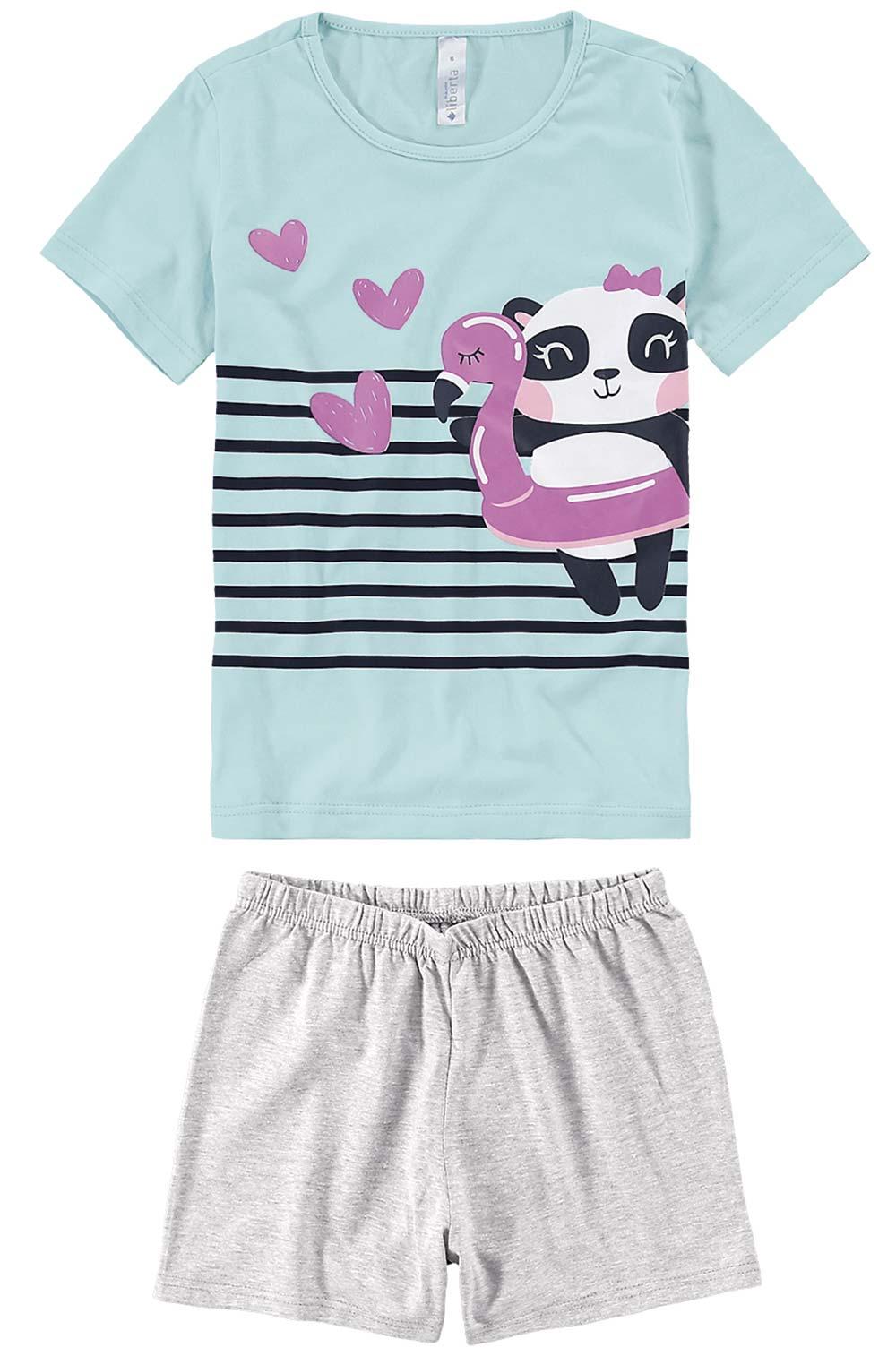 Pijama Infantil Feminino Verão Azul Panda Love Malwee