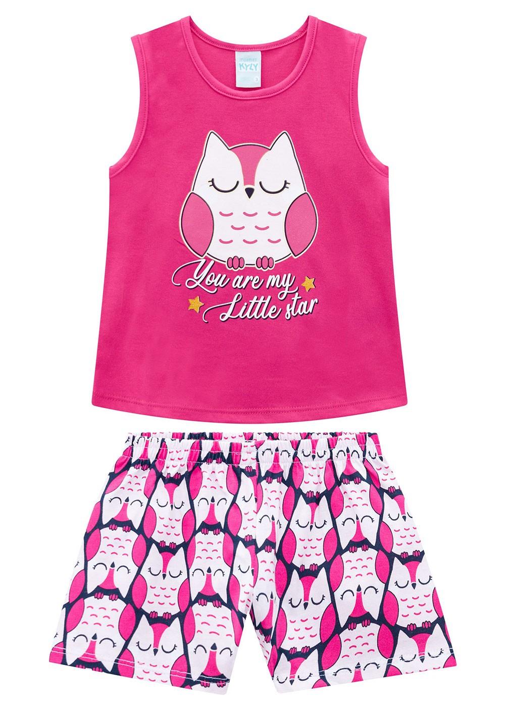 Pijama Infantil Feminino Short e Camiseta Rosa Choque - Kyly