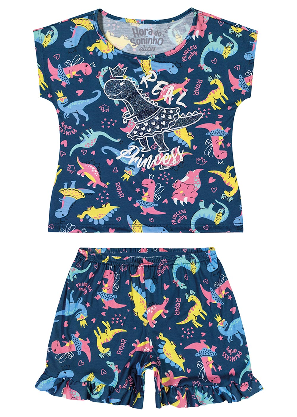 Pijama Infantil Feminino Verão Azul Princess Elian