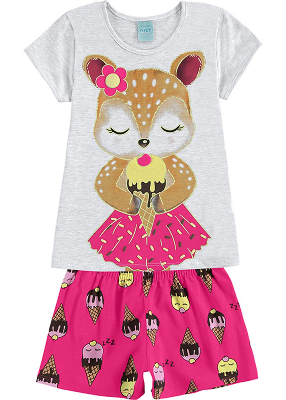 Pijama Infantil Feminino Verão Branco Ice Cream Dream - Kyly