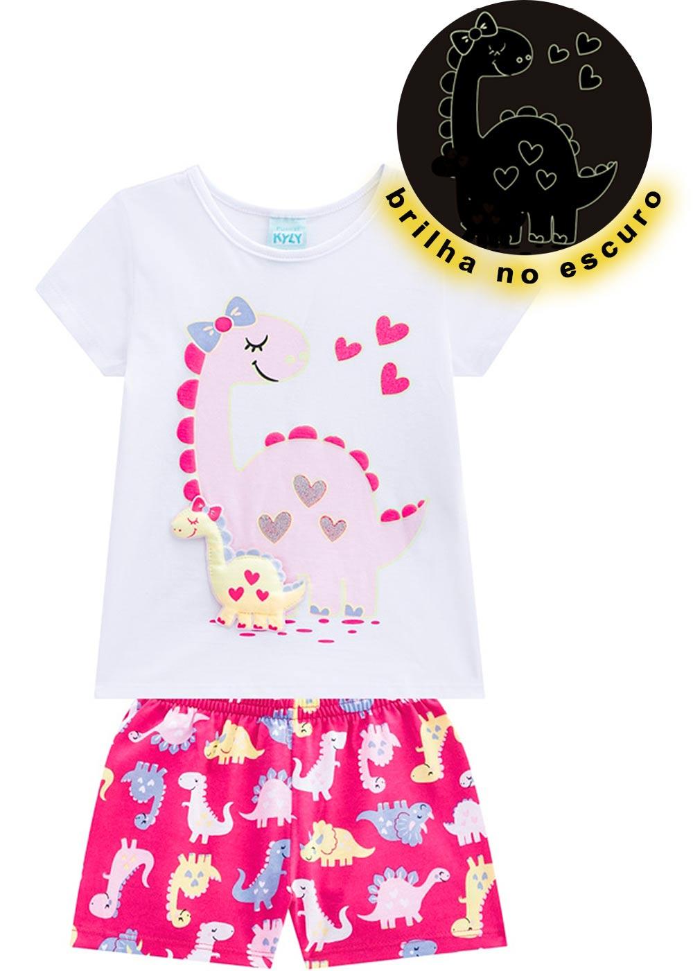Pijama Infantil Feminino Verão Branco Mom Dino Kyly