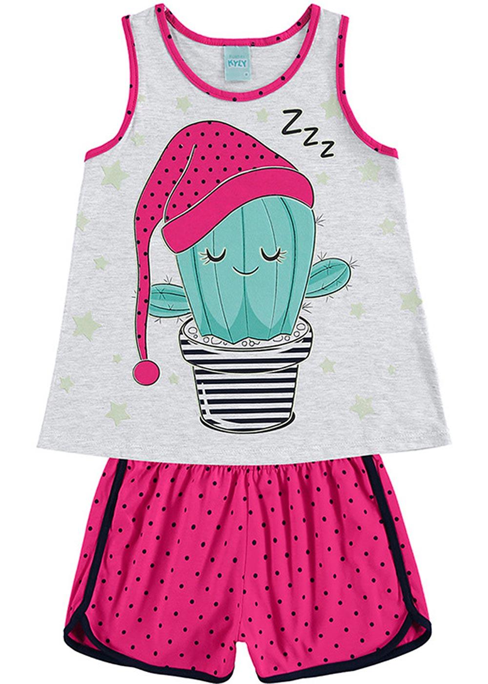 Pijama Infantil Feminino Verão Rosa Cute Cactus - Kyly
