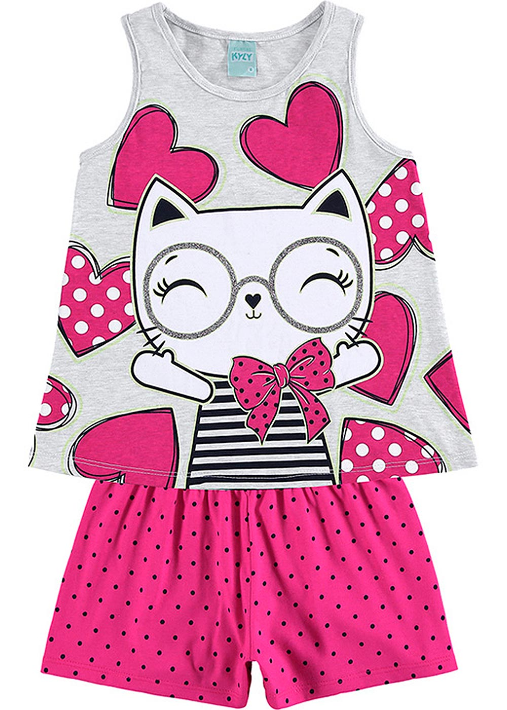 Pijama Infantil Feminino Verão Cinza Fashion Cat - Kyly