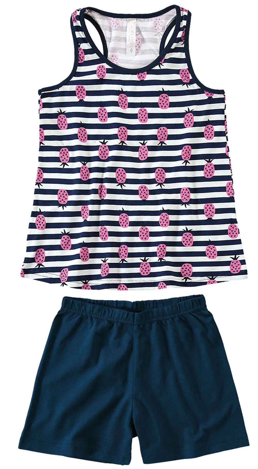 Pijama Infantil Feminino Verão Marinho Abacaxi Malwee