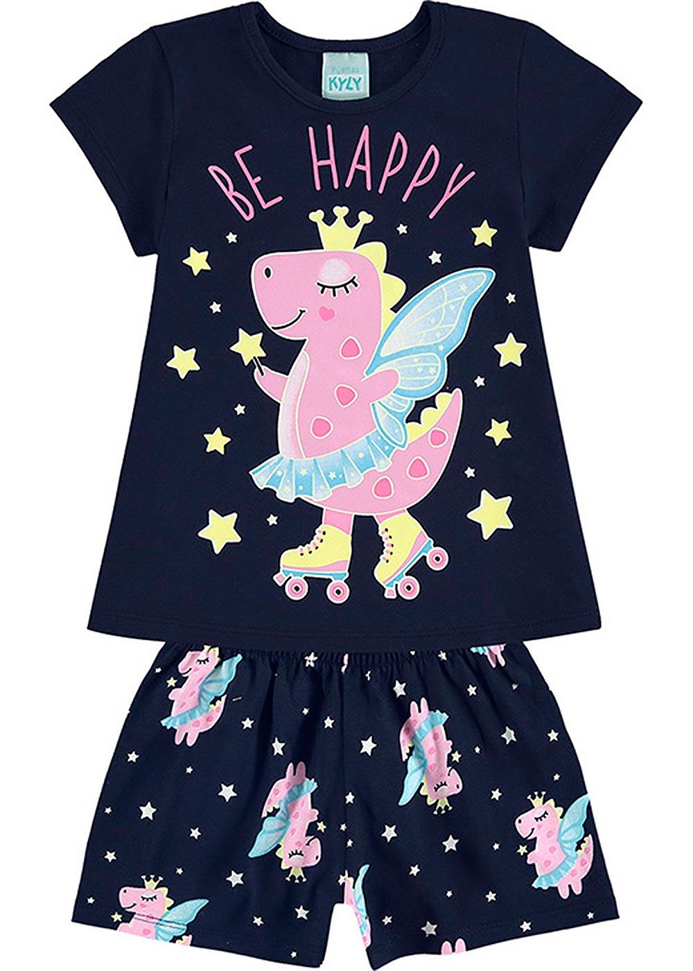 Pijama Infantil Feminino Verão Marinho Be Happy - Kyly