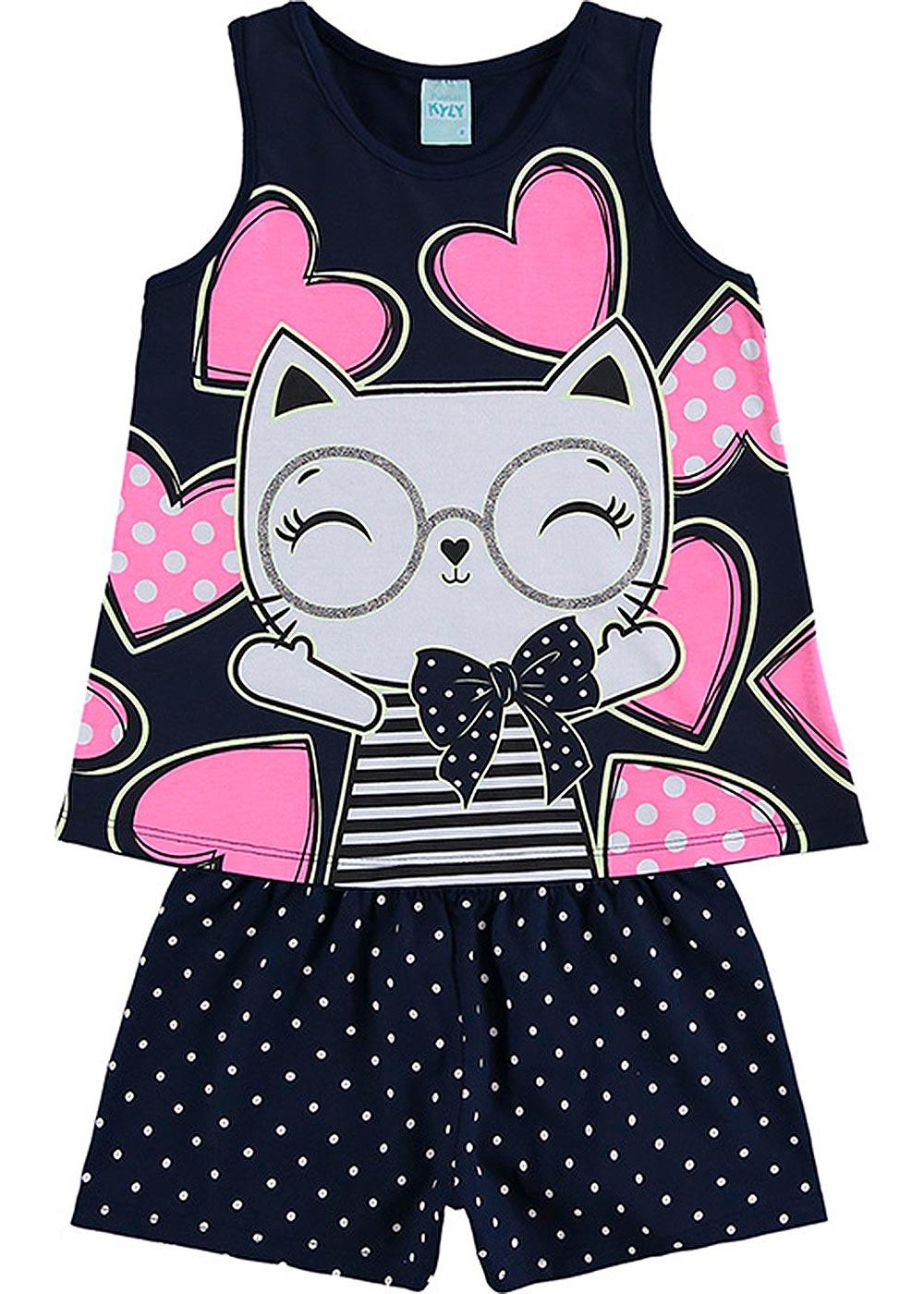 Pijama Infantil Feminino Verão Marinho Fashion Cat Brilha no Escuro - Kyly