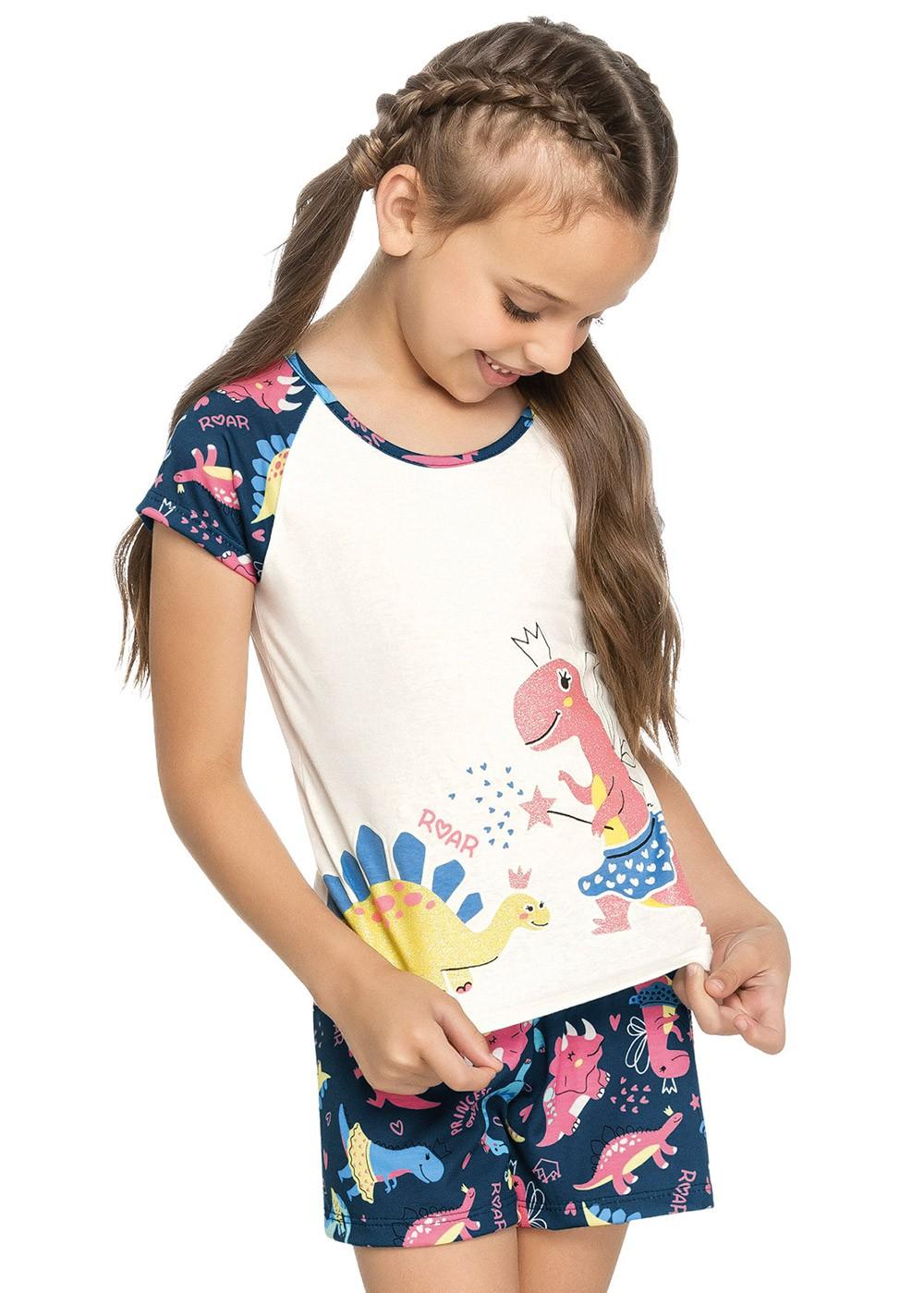 Pijama Feminino Infantil Dino OffWhite Elian