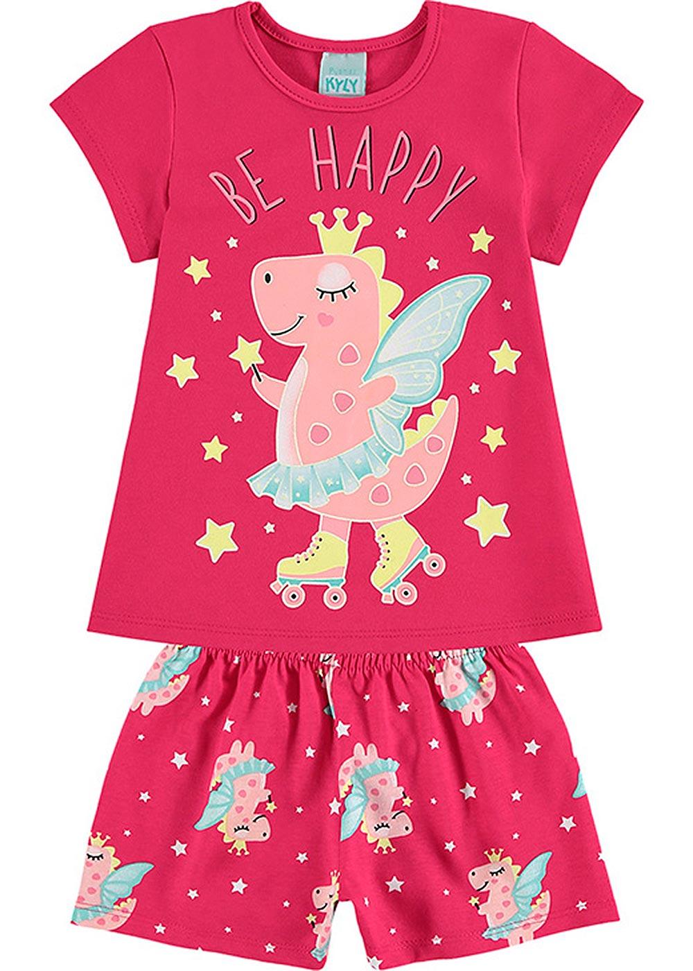 Pijama Infantil Feminino Verão Rosa Be Happy - Kyly