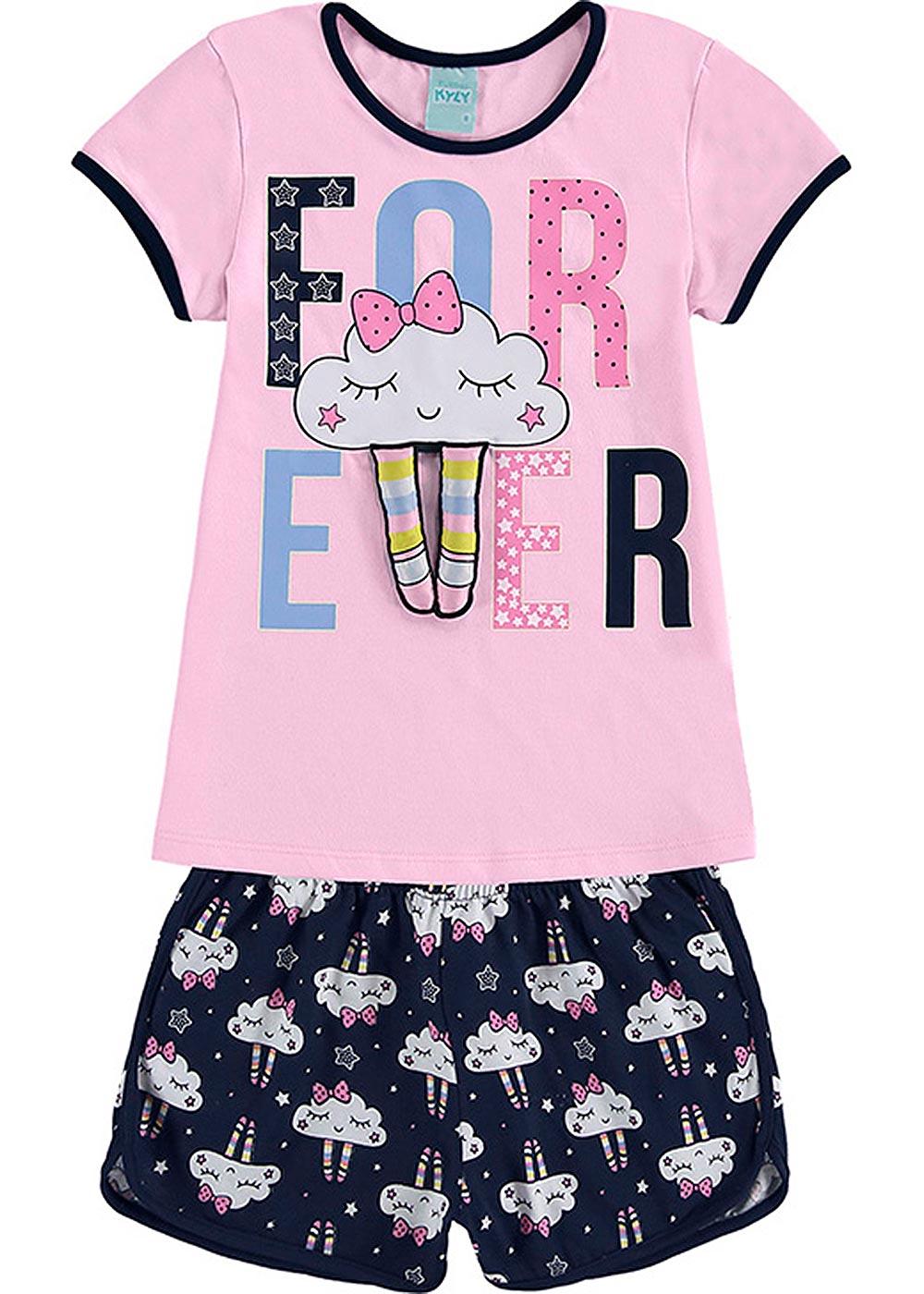 Pijama Infantil Feminino Verão Rosa Forever - Kyly