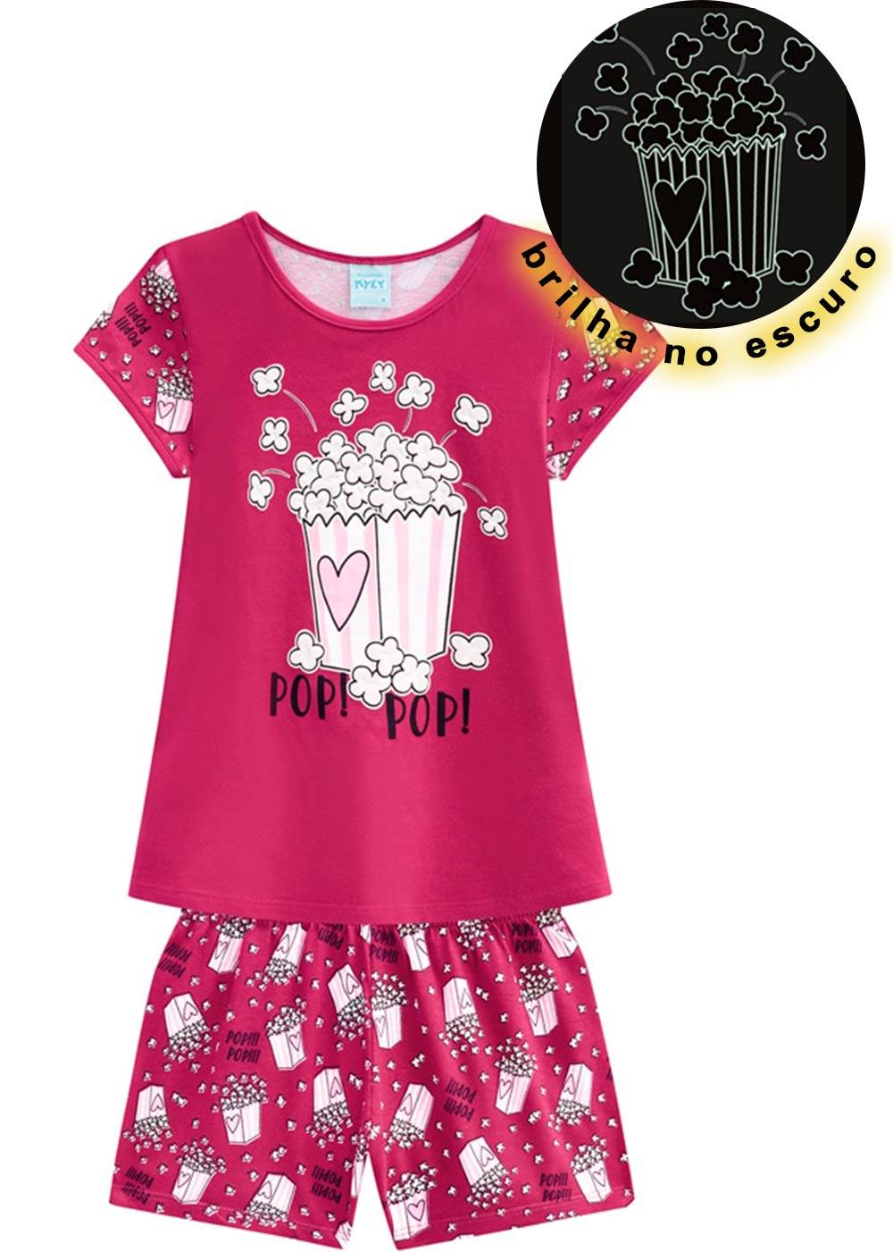 Pijama Infantil Feminino Verão Rosa Popcorn Kyly