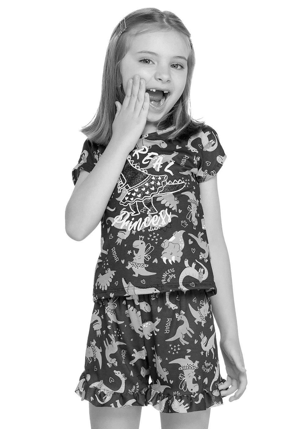 Pijama Infantil Feminino Verão Rosa Princess Elian