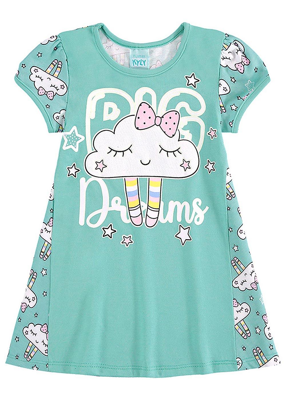 Pijama Infantil Feminino Verão Verde Big Dreams - Kyly