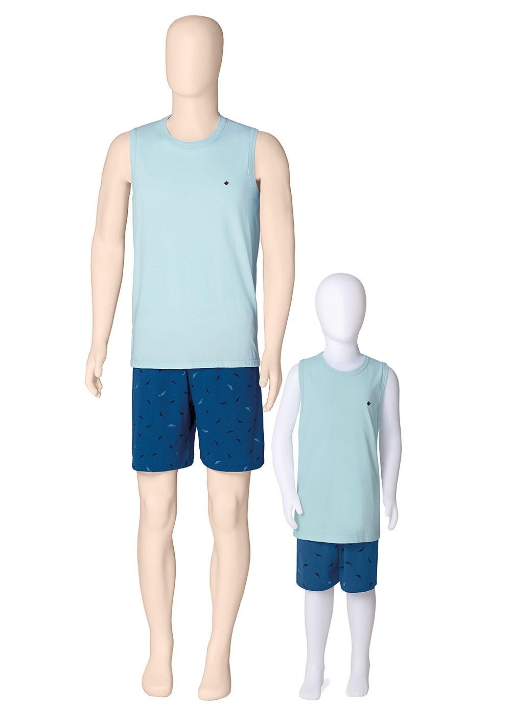Pijama Infantil Masculino Azul e Verde Estampado - Malwee
