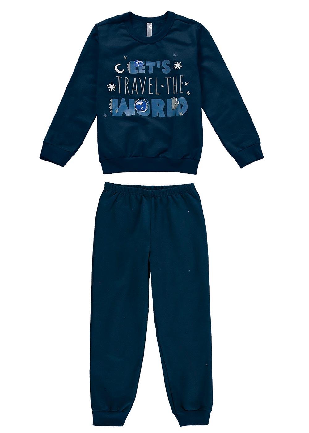 Pijama Infantil Masculino Inverno de Moletom Azul Malwee