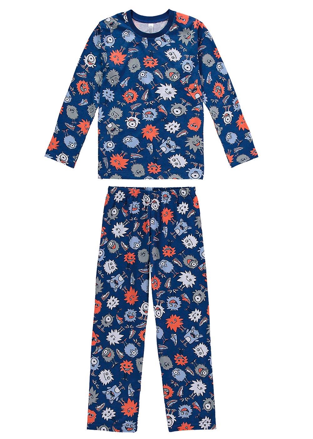 Pijama Infantil de Inverno Masculino Monstrinhos Azul - Malwee