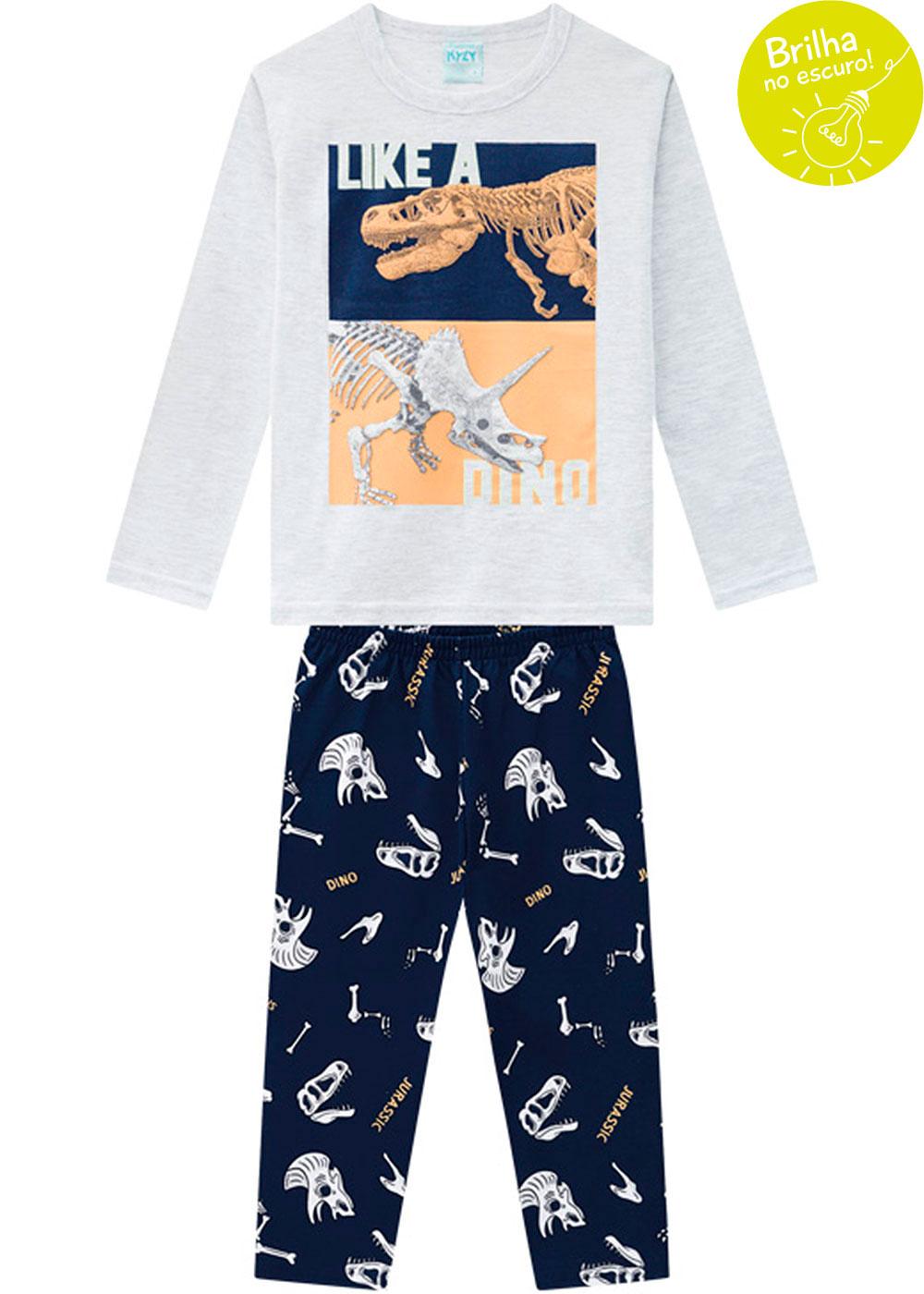 Pijama Infantil Masculino Cinza que Brilha no Escuro Inverno Kyly