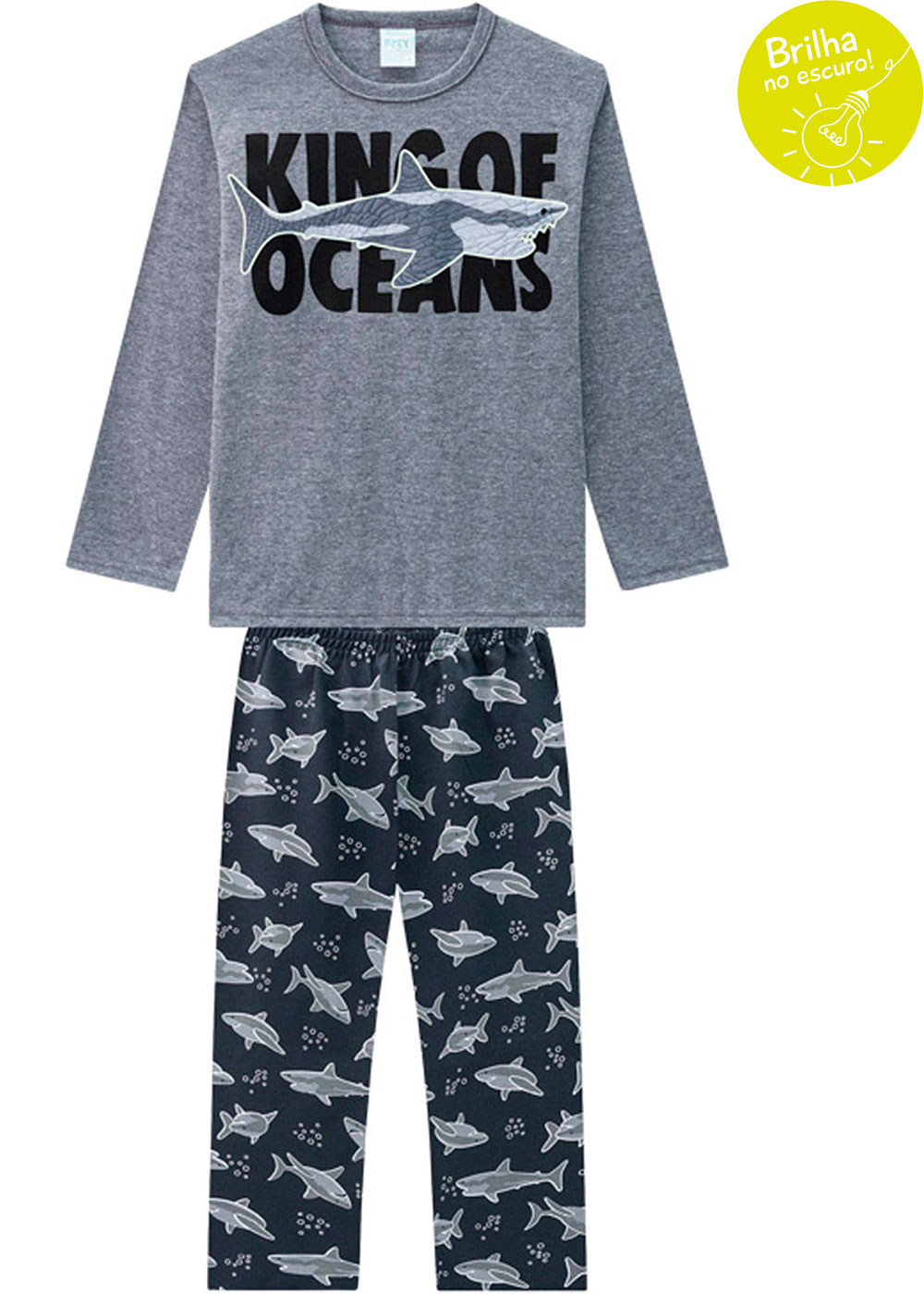 Pijama Infantil Masculino Cinza Brilha no Escuro Inverno Kyly