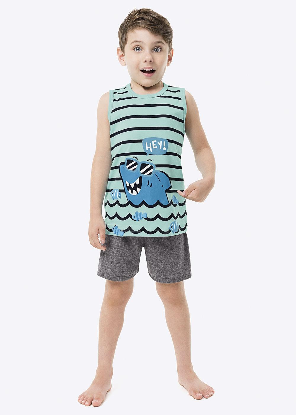 Pijama Infantil Regata Listrada e Short Cinza Masculino Listrado Malwee