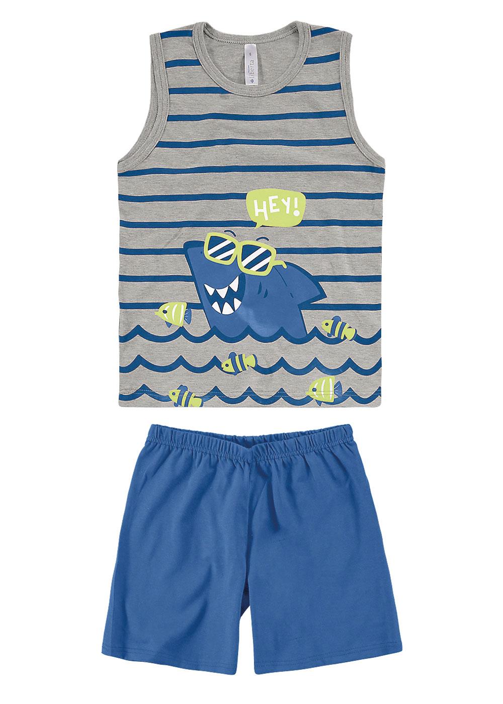 Pijama Infantil Regata e Short Masculino Listrado Malwee