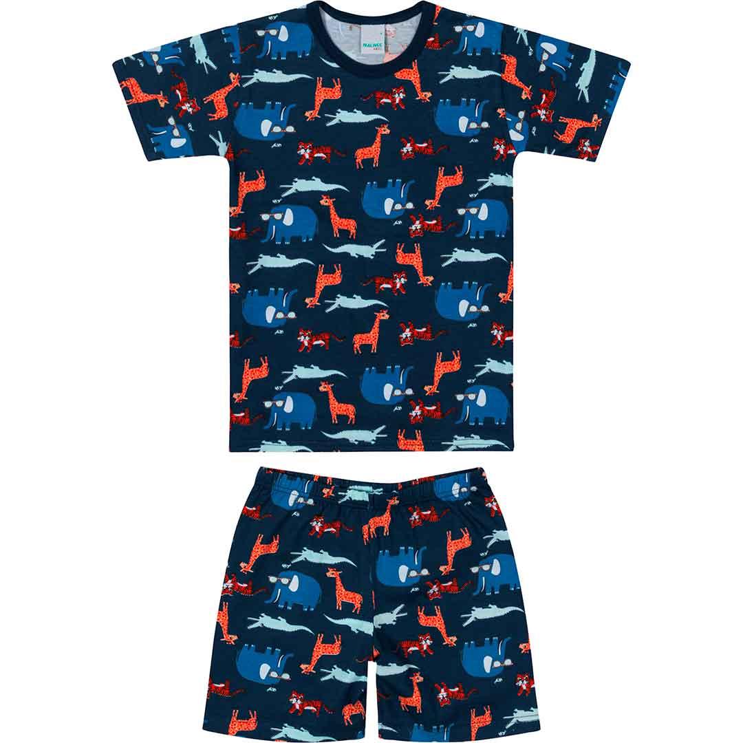 Pijama Infantil Masculino Curto Azul Animais - Malwee