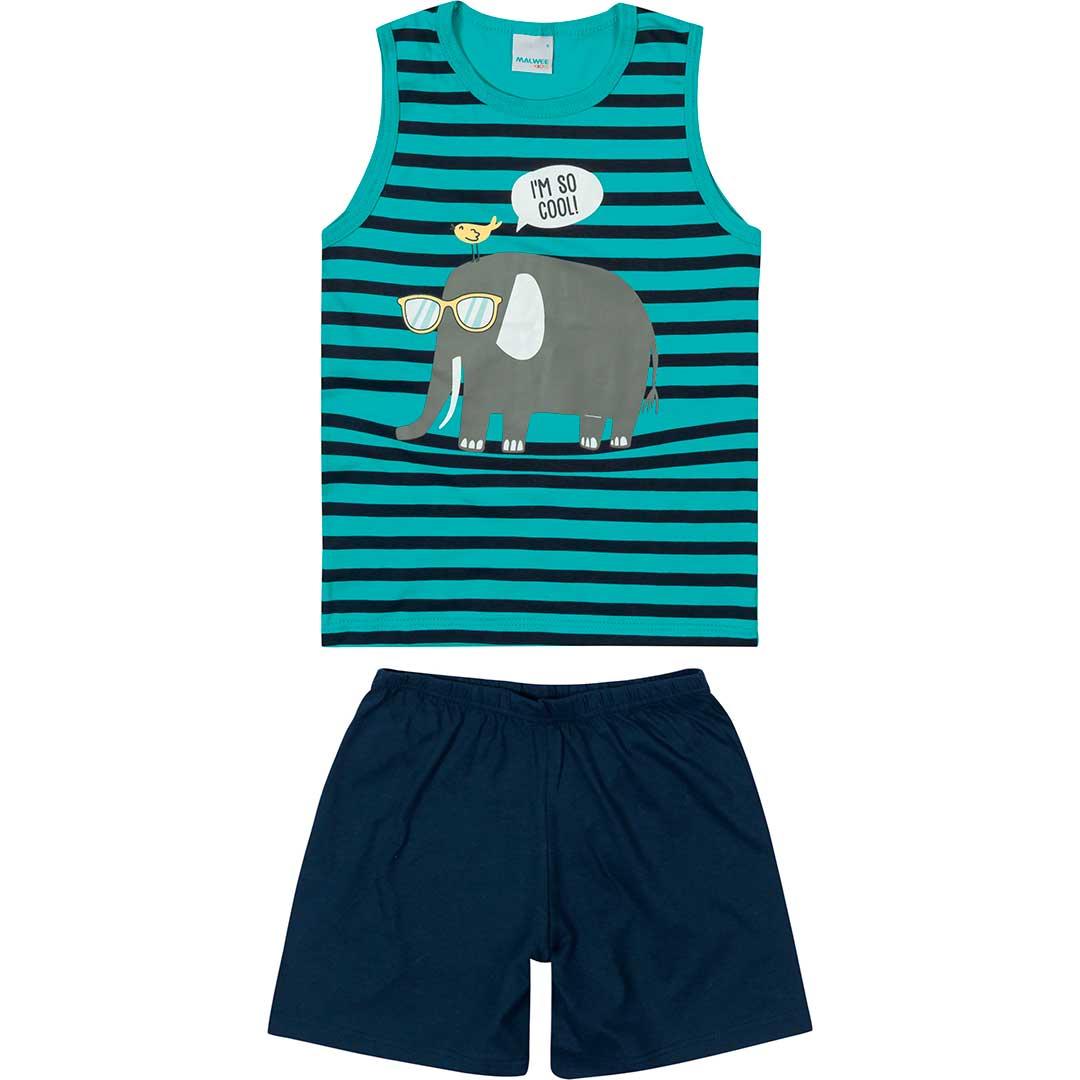 Pijama Infantil Masculino Curto Verde Elefante - Malwee